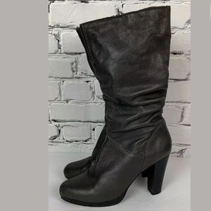 Cathy Jean Womens Gray High Heel Boots Size 10